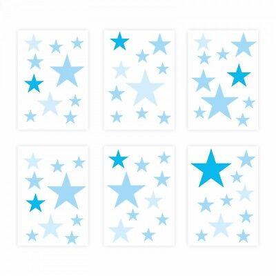 129 Wandtattoo Sterne-Set blau 60 Stück Sternenhimmel Kinderzimmer Möbel