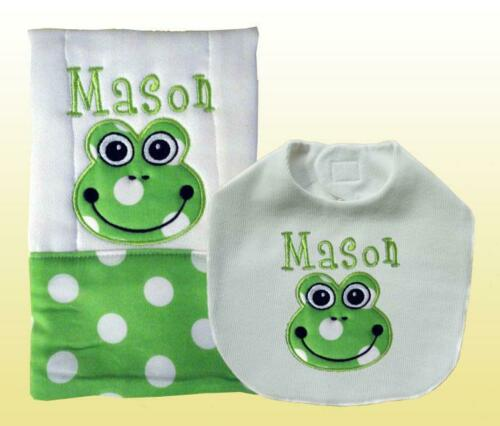 Personalized Handmade Baby Green Frog Applique Bib and Burp Cloth Set