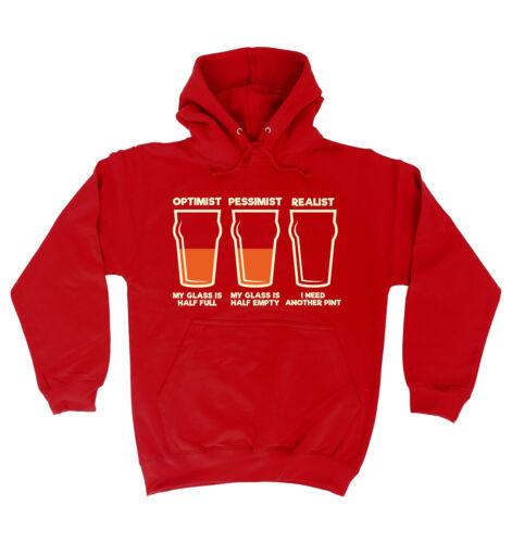 Optimist Pessimist Realist HOODIE hood birthday funny booze beer wine gift