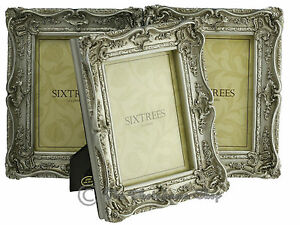 THREE-Shabby-amp-Chic-Vintage-Ornate-Antique-Silver-Photo-frames-7-034-x5-034-Pictures