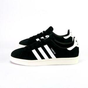 super popular 92ec2 a4c69 Image is loading Adidas-Campus-Black-White-Suede-Men-039-s-
