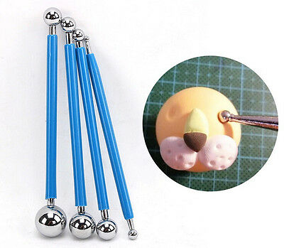 4pcs Metal Ball Flower Modeling Tools Sugarcraft Fondant Cake Decorating Mold