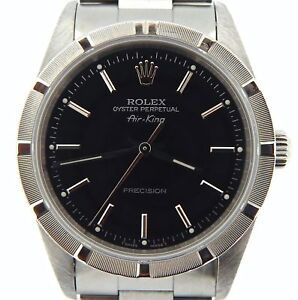 Rolex-Air-King-Precision-Mens-Stainless-Steel-Watch-Oyster-Band-Black-Dial-14010