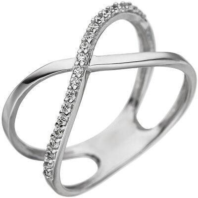 Partner Ring Damenring mit 3 Zirkonia weiß 925 Silber Silberring teilmattiert