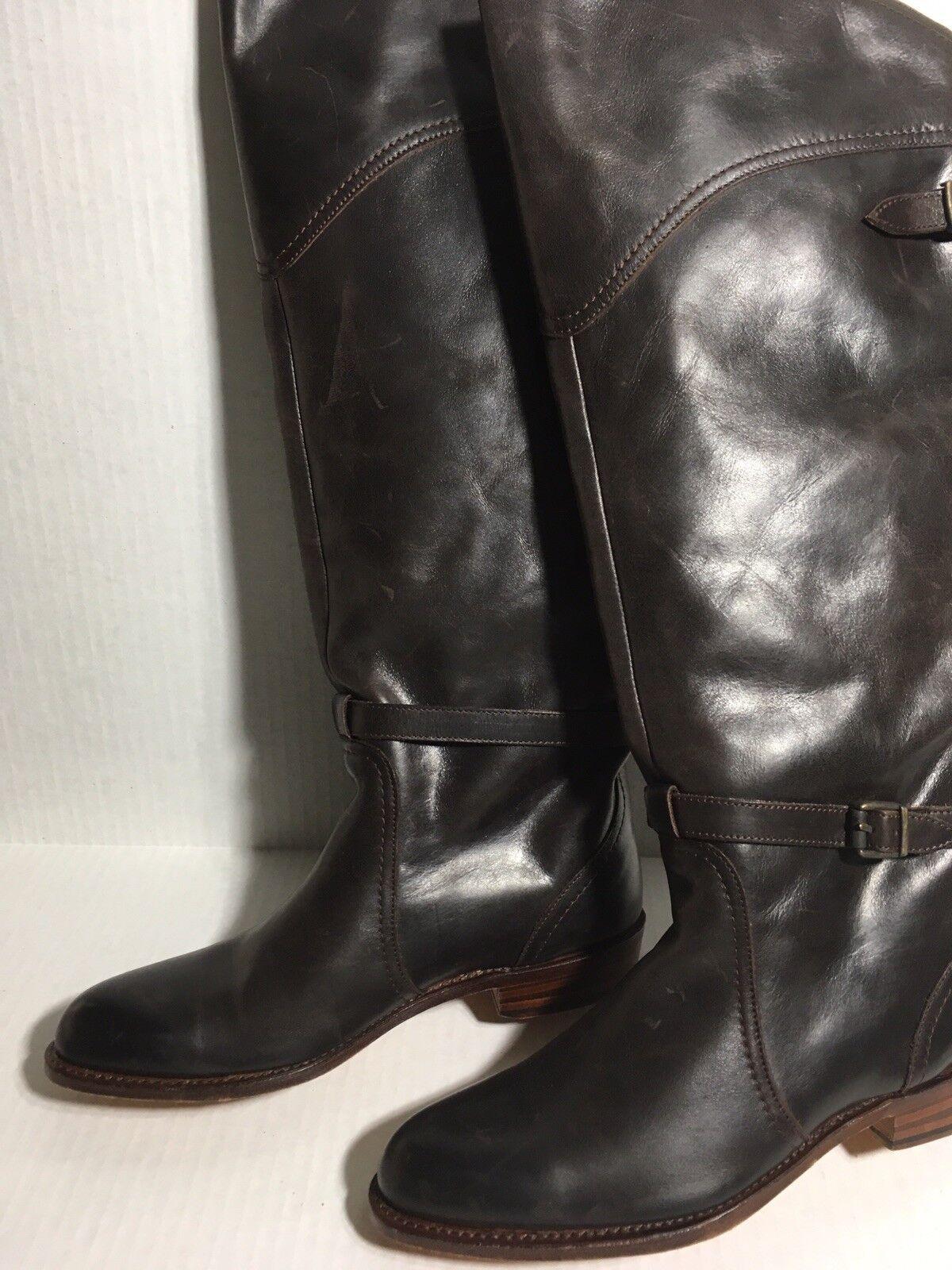 Frye Dorado Dark Brown Leather Buckle Buckle Buckle Riding Boots Women's shoes Sz10 M RTL 698 283234