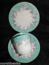 VTG WEDGWOOD BUXTON TURQUOISE  PORCELAIN & GOLD TRIM TRIO - CUP, SAUCER & PLATE