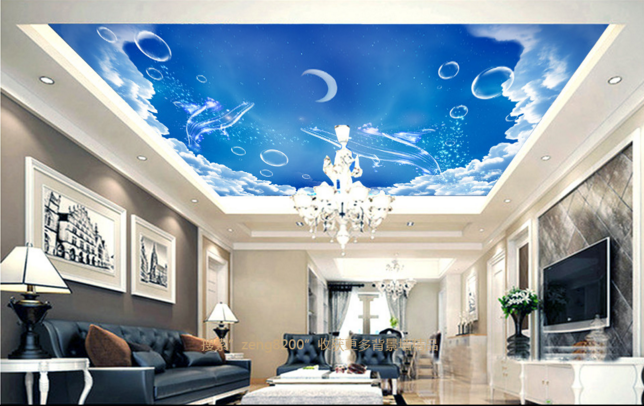 3D Moon Fishs 508 Ceiling WallPaper Murals Wall Print Decal Deco AJ WALLPAPER UK