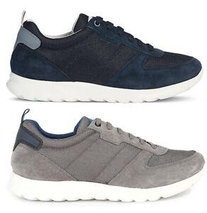 Dettagli su GEOX RESPIRA DAMIAN U920HA scarpe uomo sneakers pelle camoscio tessuto stringhe