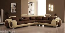 4087 - Modern Bonded Leather Sectional Sofa In Brown & Beige Color