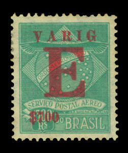 BRAZIL 1928 AIRMAIL - VARIG - SPECIAL DELIVERY 700r/1300r green Sc#3CLE1 mint MH