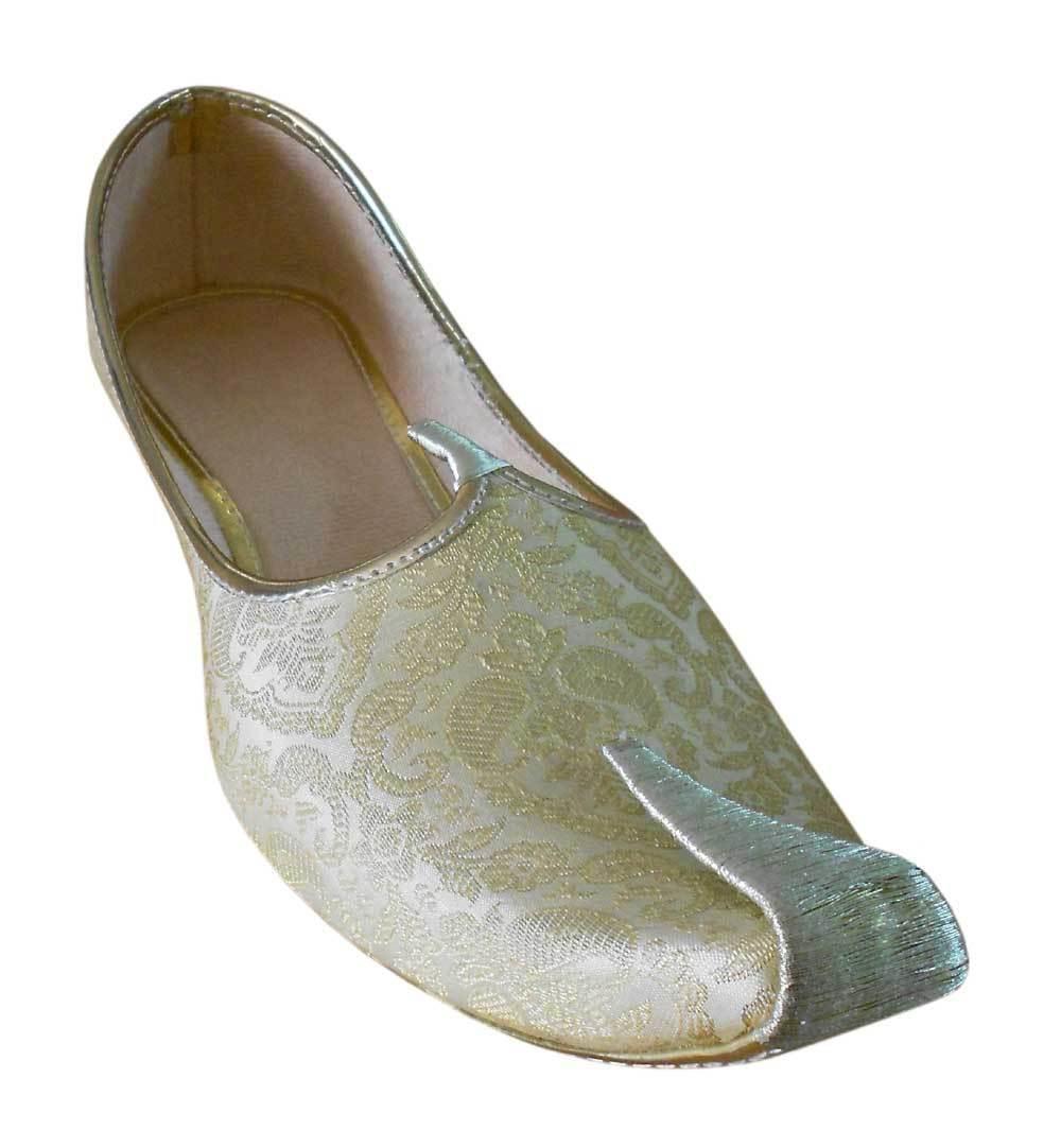 Men shoes Wedding Mojari Handmade Loafers Sherwani Cream & golden Jutti US 6-9