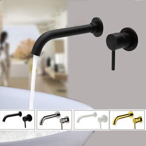 Détails sur Mural bassin mitigeur Set salle de bain bec robinet avec 2  levier en noir mat/or
