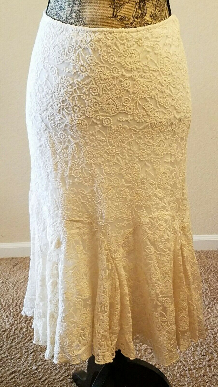 Lauren Ralph Lauren Women's Size 4 embroidered tulle skirt cream  175 THESPOT917