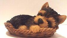 Wicker Basket Yorkshire Terrier Puppy Dog- Life Like Figurine Statue Home/Garden