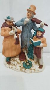 """Vintage Christmas Victorian Caroler Singers Figurines Open Mouth Trio 10"""""""