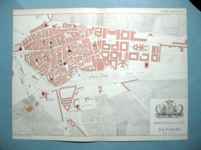 Cartina Sardegna Grande.Mappa Antica Pianta Della Citta Di Sassari Grande 35x26 1895 Ebay