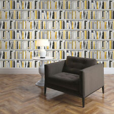 Wallpaper Muriva - Fashion Library Bookshelf - Library Books - In Gold - 139503