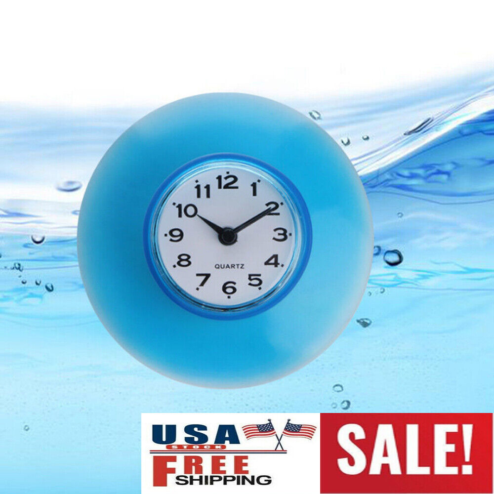 Suction Cup Waterproof Round Mini Wall Clock Quartz Clocks Decoration for Bathroom Kitchen Living Room Bedroom White