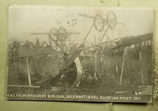 DR WHO 1911 INTERNATIONAL AVIATION MEET BIPLANE AIRPLANE WRECK POSTCARD  f22994