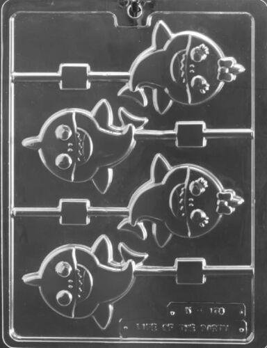 K178 Baby Shark Lollipop Sucker Chocolate Candy Soap Mold w//Instructions