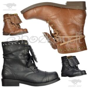 New Womens Rocket Dog Brutus Ankle Biker Military Boots Studded ... 89642b9f40