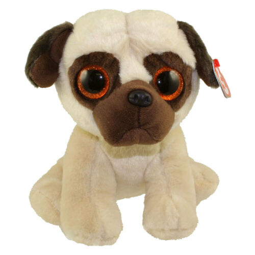 "Ty Beanie Baby 9/"" Rufus Medium Pug Dog Stuffed Animal Plush NWMT/'s w// Heart Tags"