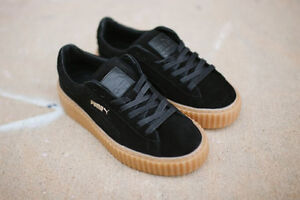 new product 582b7 f8e88 Details about PUMA RIHANNA BLACK GUM SUEDE CREEPERS FENTY TRAINERS ALL  SIZES 3 4 5 6 7 8