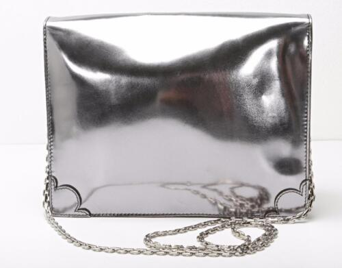strap À Chain Cuir Sac Pochette Verni Structuré Main Wu Mirrored silver Jason v0gBZw