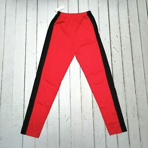 Vintage-DERENNIAL-USA-made-Nordstrom-Rack-Black-Striped-Red-Sweatpants-M-NWT