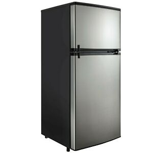 Rv Refrigerator Stainless Steel 4 5 Cubic Feet 12v 2 Door Fridge Ebay