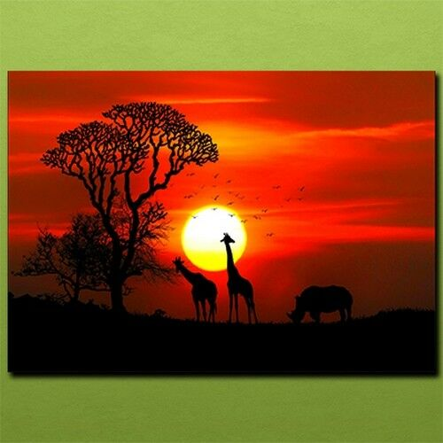 Giraffe rhino trees birds silhouette Metal Plate Picture_Metal wall art Poster