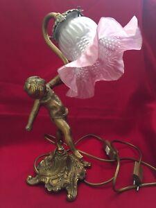 Bronze Lampe Bureau Chérubin Avec Enfant Angelot Ancienne Tulipe En KclF3TJu1