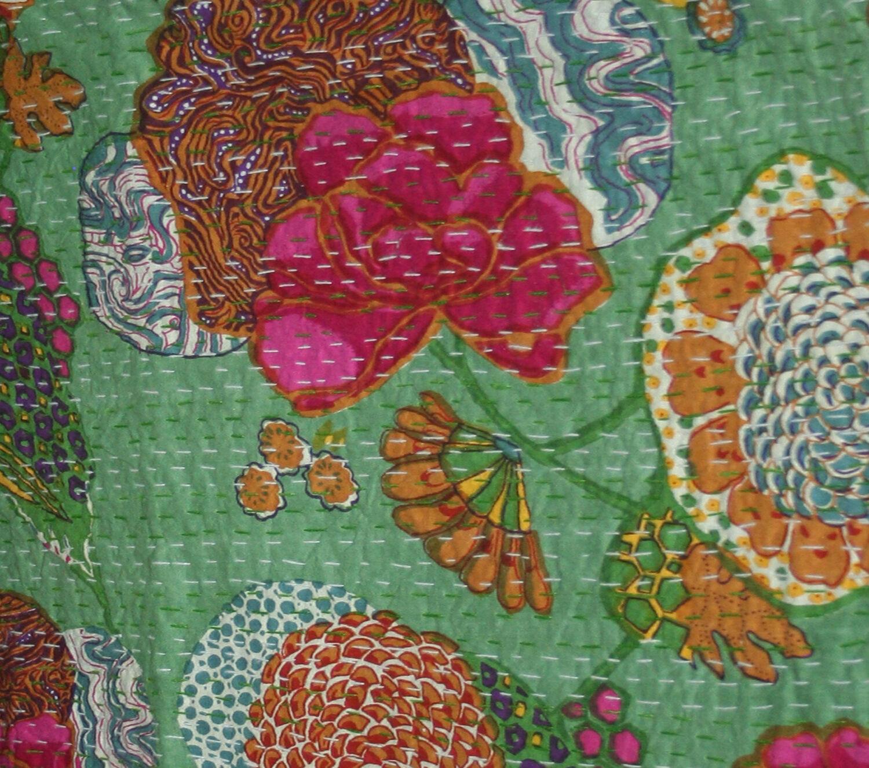 Indian Fine Vintage Queen Größe Kantha Quilt Bedding Bedspread Ralli Grün Kantha