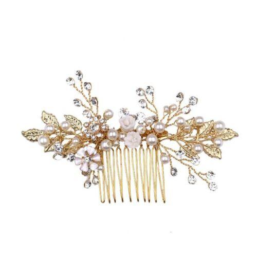 Haarkamm Hochzeitsschmuck Brautschmuck Braut Vintage Haarschmuck gold Blüten NEU