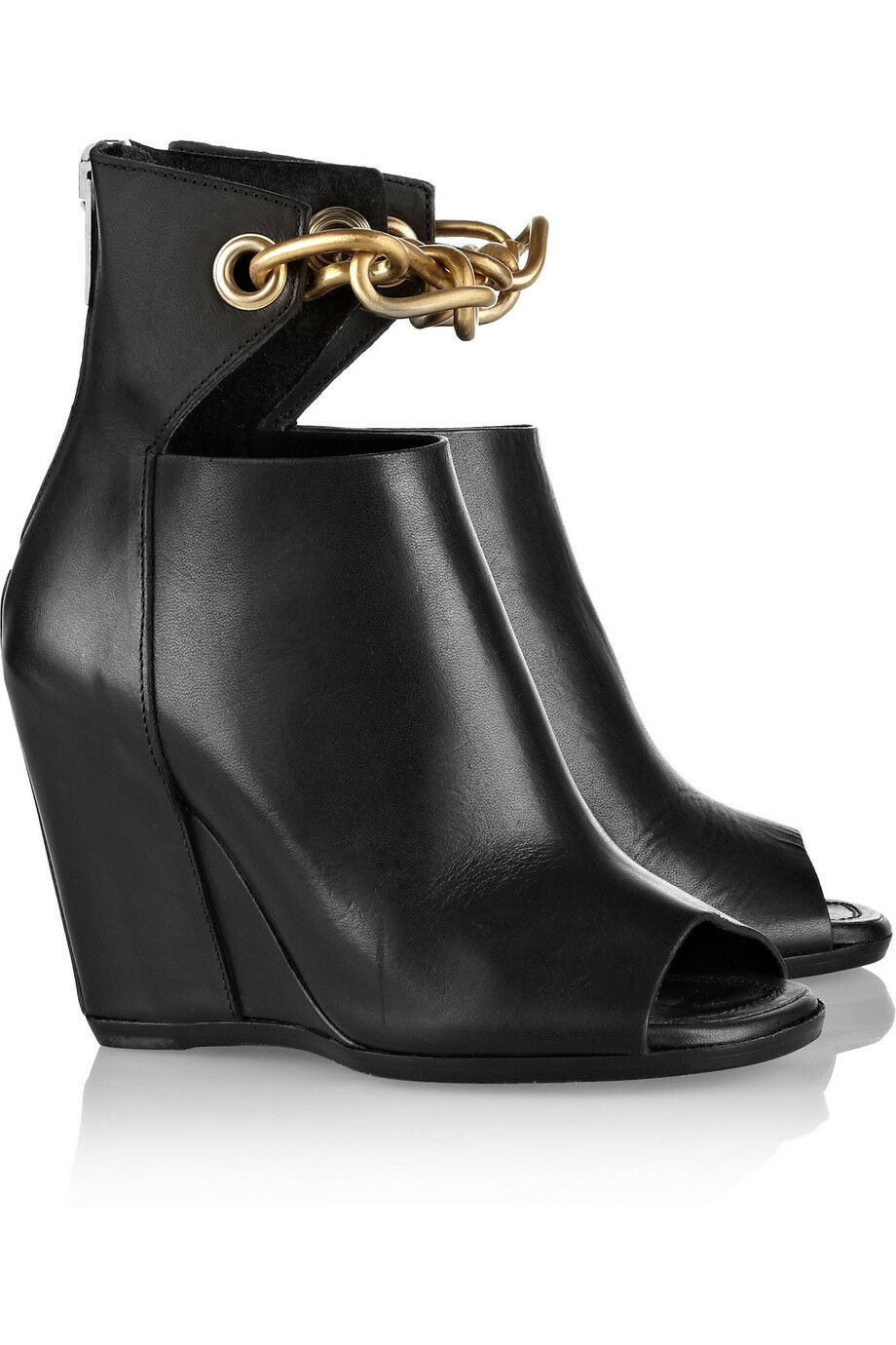 1,987.20 AUTH NIB RICK OWENS Chain-trimmed leather wedge ankle boots Sz 36