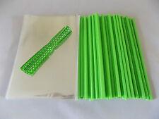 "50 X Verde Cake Pop Kit 6"" lolly palos 4""x 6"" Violonchelo Bolsas Y Polka lazos"