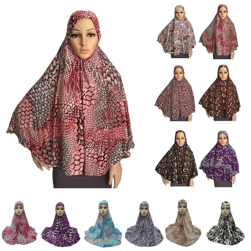 Muslim Print Long Hijab Wrap Amira Khimar Headscarf Islamic Women Overhead Shawl