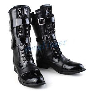 À Combat Moto Aux Chaussures Boucle Rock Genoux Bottes Riding pour Sz Punk Lacets hommes qaxwIfASwH