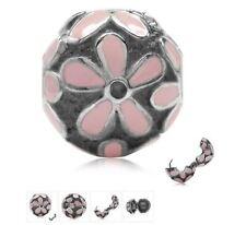 PINK DAISY FLOWER LOCK .925 Sterling Silver European Charm Bead CL1