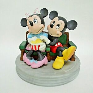 Vintage Mickey and Minnie Mouse Popcorn Figurine Movies Bisque HTF Disney Japan
