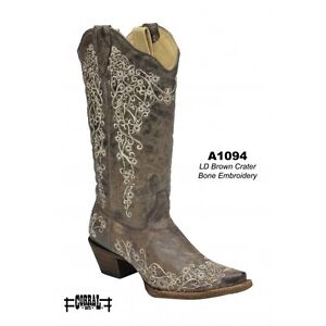 CORRAL-Womens-Brown-Beige-Snip-Toe-Embroidery-Distressed-Western-Boots-A1094-Sz