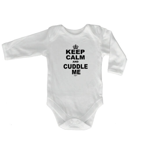 Funny Baby Infants Babygrow Romper Jumpsuit Keep Calm Cuddle Me