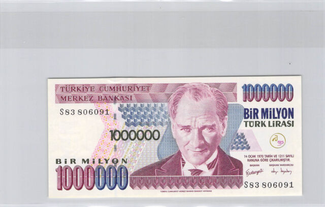 Turkey 1 000 000 Lira l1970 (1995) N° S83806091 Pick 209