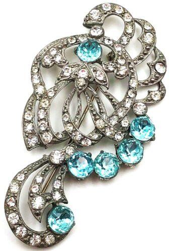 Vintage STARET Aqua/Clear Brooch*Austrian Crystals