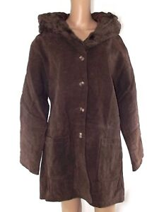df3608b9831bbc Caricamento dell'immagine in corso cappotto-donna-marrone -crosta-di-cuoio-cappuccio-taglia-