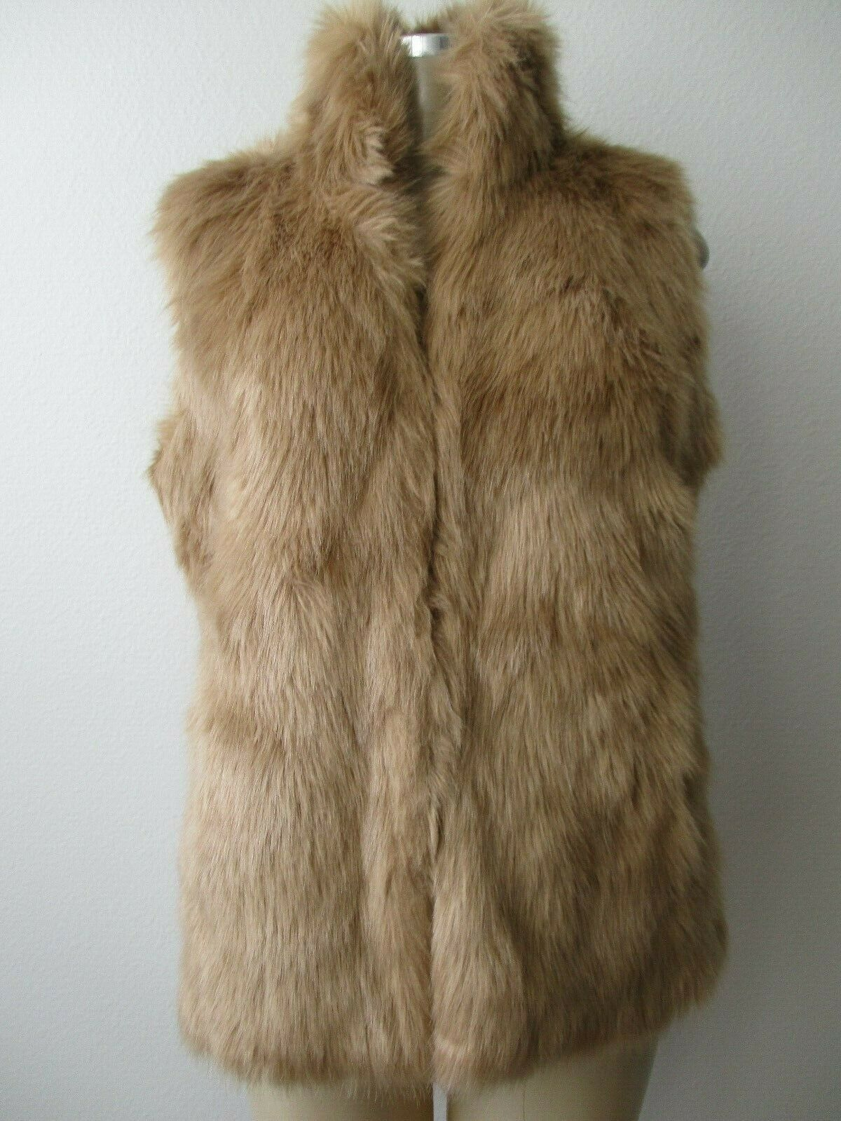 G BY GIULIANA RANCIC CAMEL FAUX FUR & FAUX LEATHER SLEEVELESS VEST SIZE M - NWT