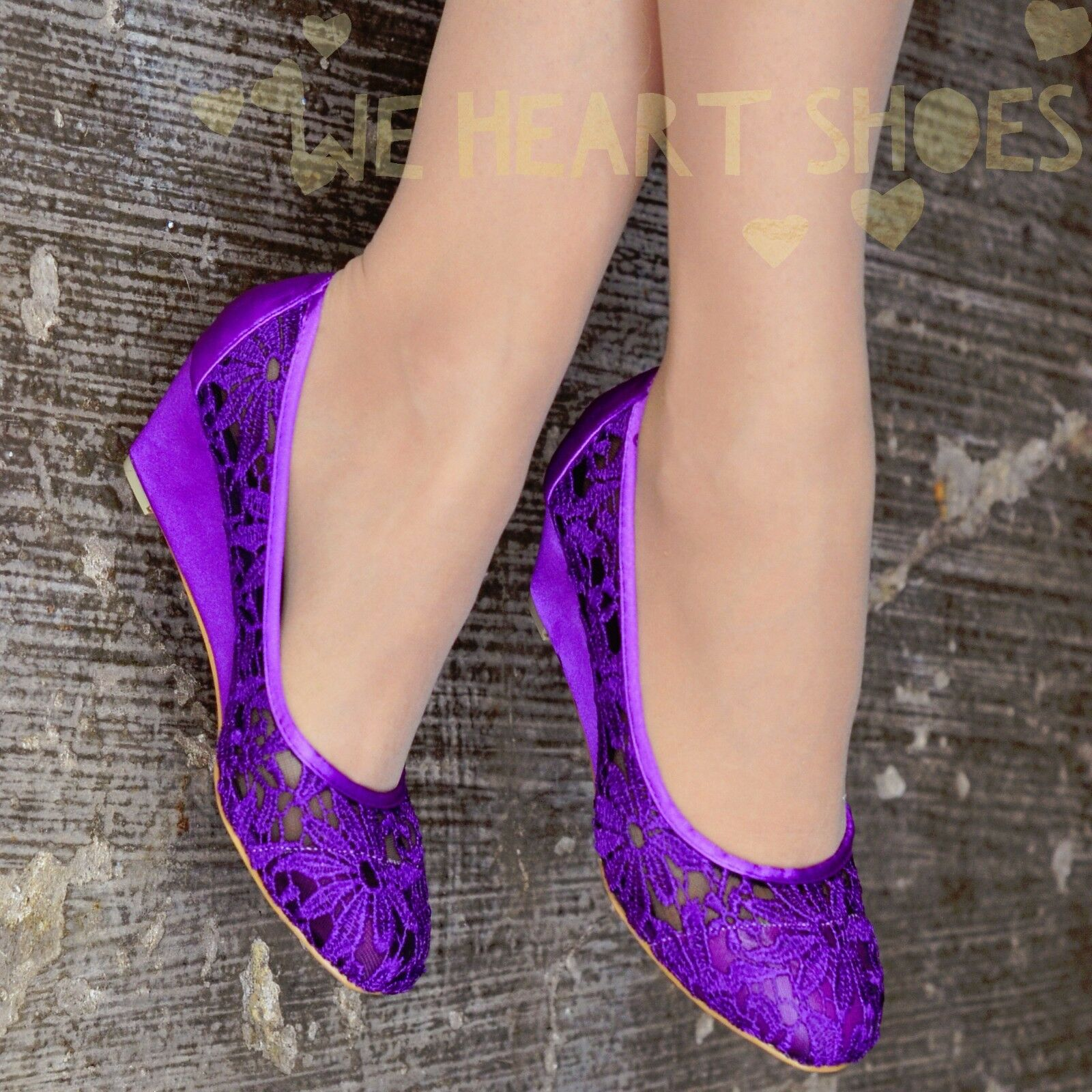 Ladies Womens Lace Shoes Wedge ballet pumps Evening Office Low Heel Floral size