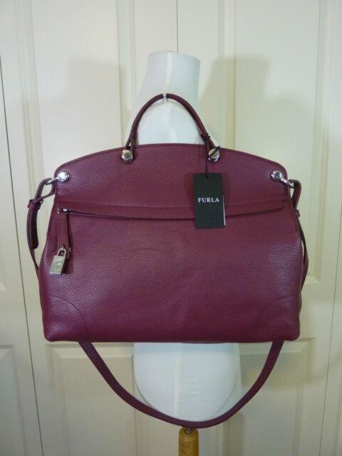 NWT FURLA Burgundy Red Wine Classic Pebbled Leather Piper Satchel Bag  448 035dc8984ba1f