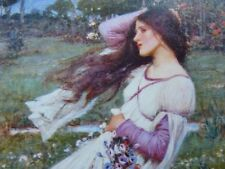 "Pre-Raphaelite WIND FLOWERS flower art print young girl J. W. Waterhouse 7"" x 5"""