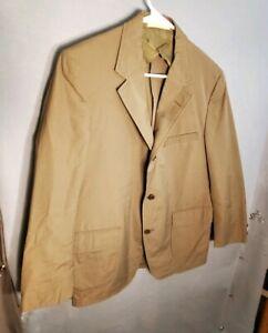Vintage-1960s-Brooks-Brothers-Men-039-s-Size-43-P-Tan-Cotton-Blend-Sport-Coat-Jacket